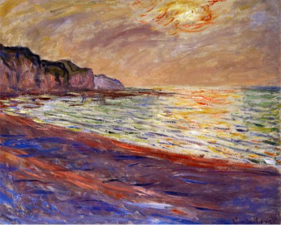 Beach At Pourville, Sunset, 1882-Claude Monet Painting
