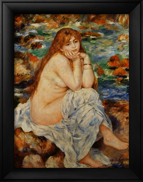 Bather Seated on a Sand Bank - Pierre Auguste Renoir Painting