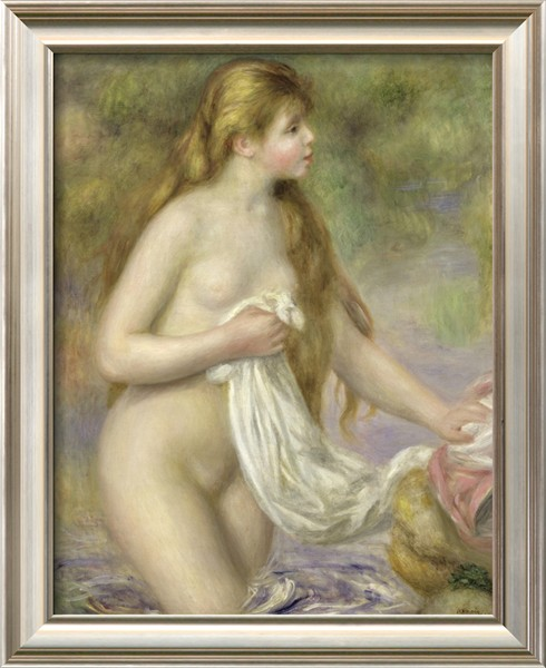 Bather with Long Hair - Pierre Auguste Renoir Painting