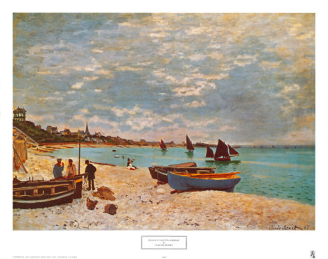 Beach At Sainte Adresse-Claude Monet Painting