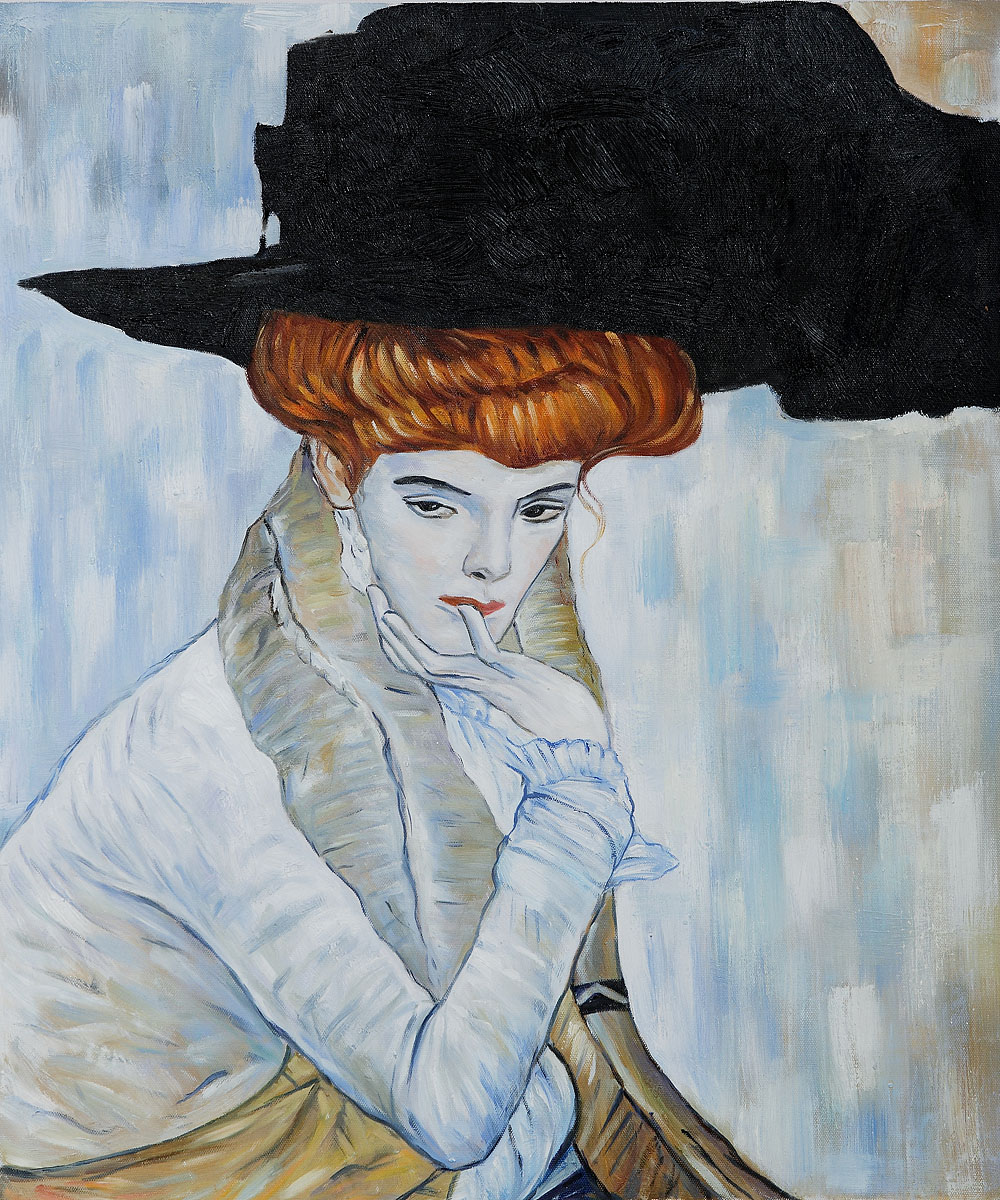 Black Feather Hat - Gustav Klimt Painting