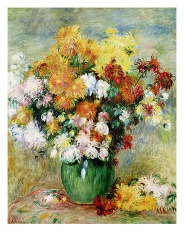 Bouquet of Chrysanthemums - Pierre Auguste Renoir Painting