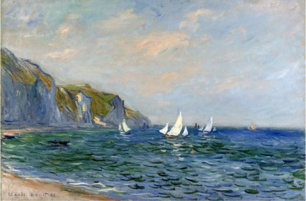 Cliffs And Sailboats At Pourvill-Claude Monet Painting