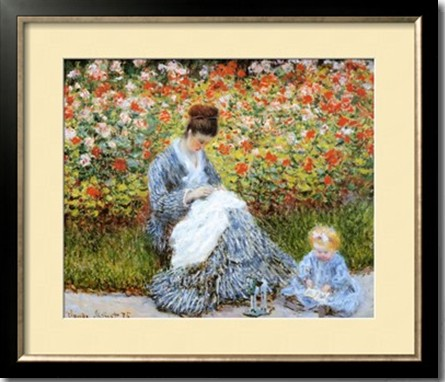 Camille Monet Child In Artists Garden-Claude Monet Painting