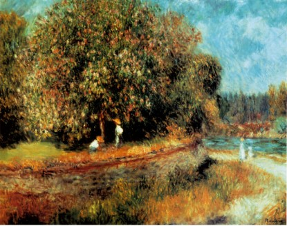 Chestnut Tree in Bloom - Pierre Auguste Renoir Painting
