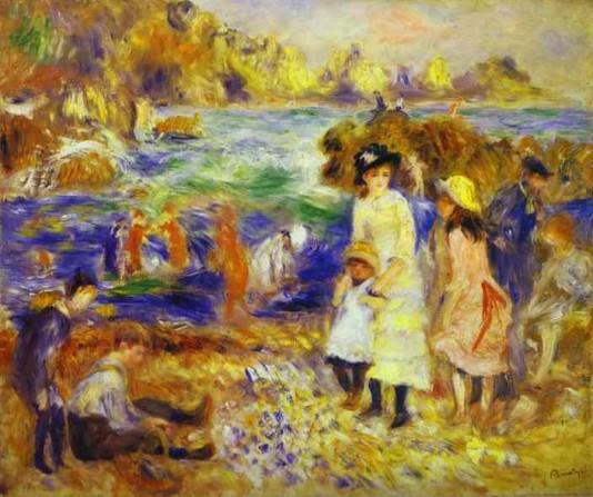 Children on the Beachot Guernesey - 1883 - Pierre Auguste Renoir Painting