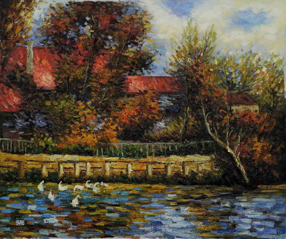 Duck Pond - Pierre Auguste Renoir Painting