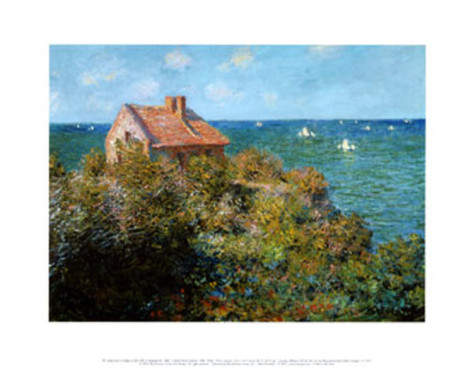 Fishermans Cottage On The Cliffs At Var-Claude Monet Painting