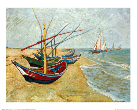 Fishing Boats on the Beach at Saints - Maries - Vincent Van Gogh Paintings