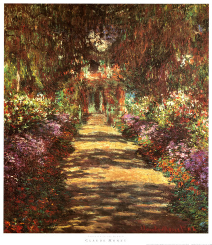 Footpath In The Garden-Claude Monet Painting