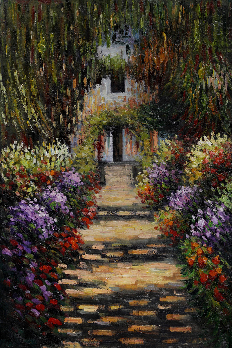 Garden Path At Giverny-Claude Monet Painting