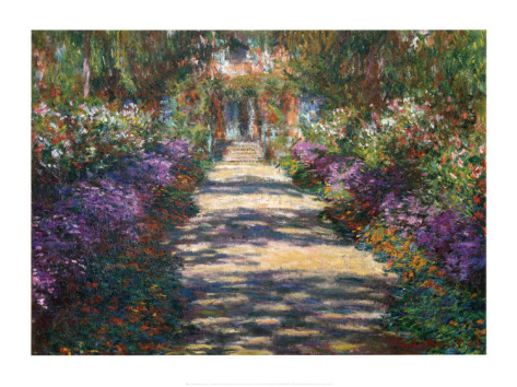 Garden At Giverny Detailed-Claude Monet Painting