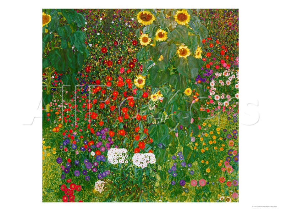 Garden With Sunflowers - Gustav Klimt Painting
