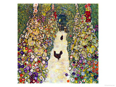 Gardenpath With Hens, 1916 - Gustav Klimt Painting