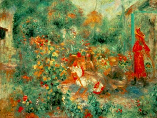 Girl in the Garden, Montmartre - 1864 - Pierre Auguste Renoir Painting