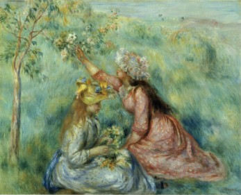Girls Picking Flowers in a Meadow - Pierre Auguste Renoir Painting