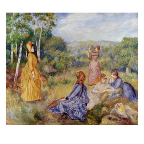 Girls Playing Battledore and Shuttlecock - Pierre Auguste Renoir Painting