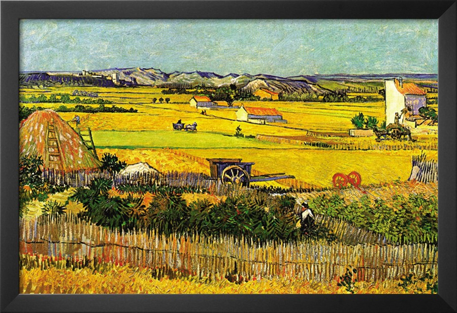 Harvest At La Crau with Montmajour In The Background - Vincent Van Gogh Paintings
