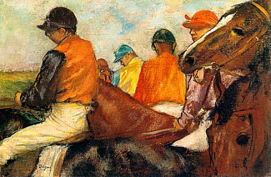 Jockeys in Front of the Grandstands - 1882-1885 by Edgar Degas