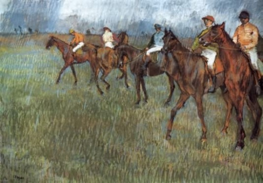 Jockeys in the Rain - 1886 by Edgar Degas