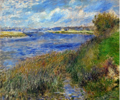 La Seine a Champrosay Banks of the Seine River at Champrosay 1876 - Pierre Auguste Renoir Painting