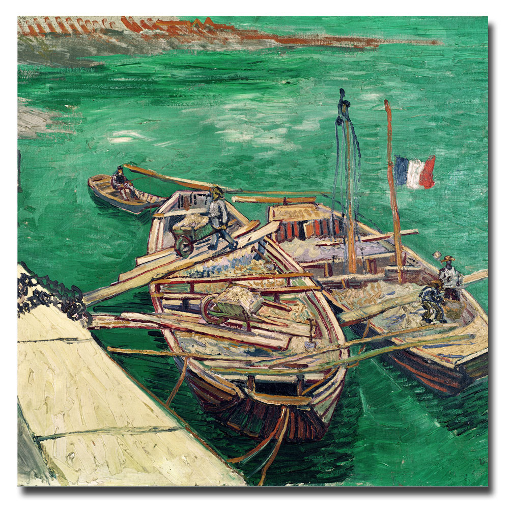Landing Stage with Boats-Vincent Van Gogh oil on canvas