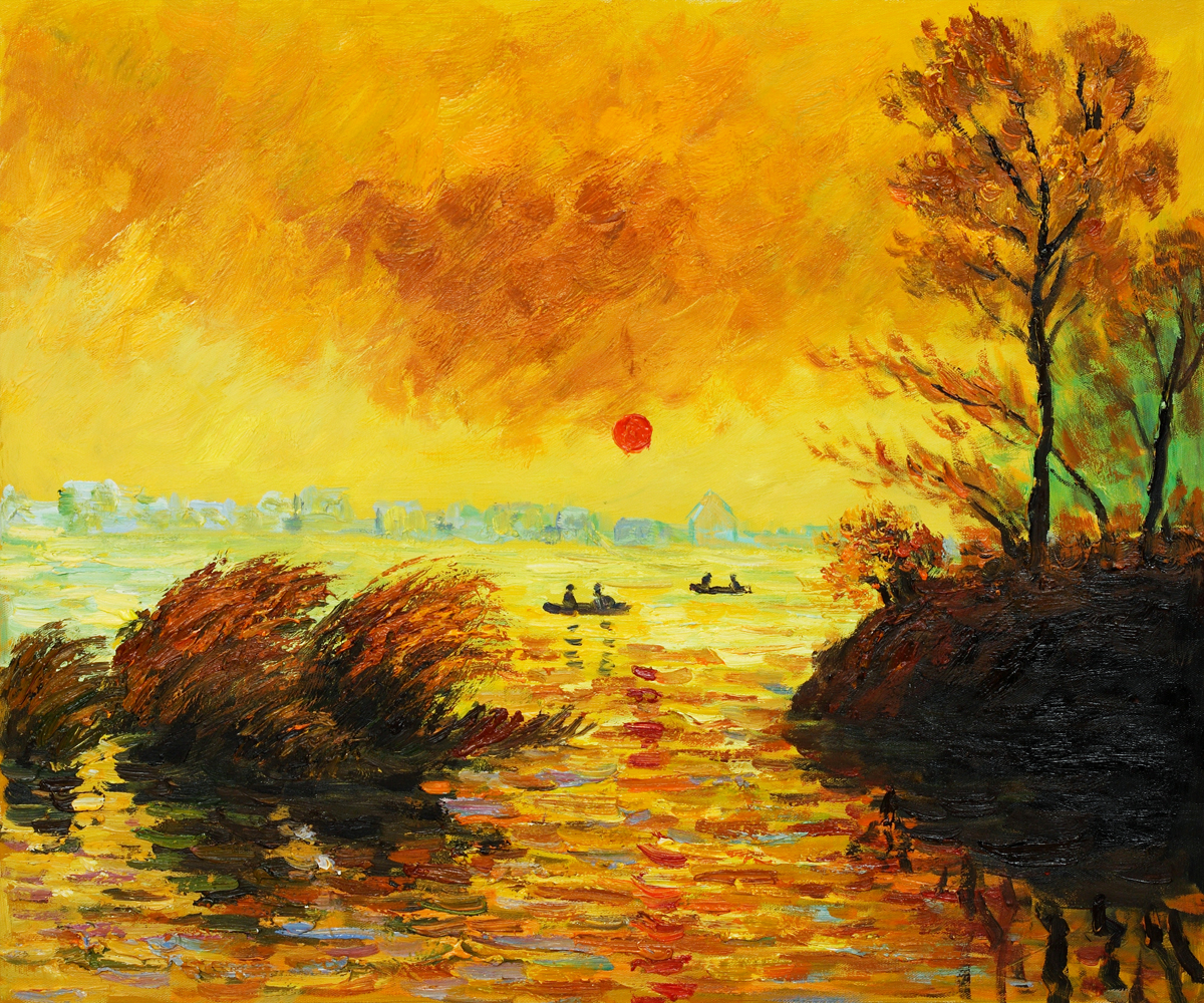Le Coucher Du Soleil La Seine-Claude Monet Painting