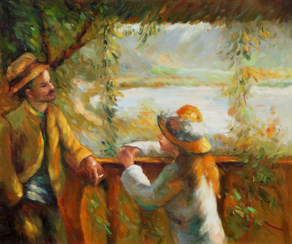 Near the Lake (Yellow) - Pierre Auguste Renoir Painting