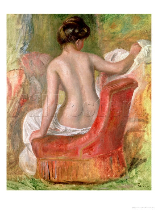 Nude in an Armchair, 1900 - Pierre Auguste Renoir Painting