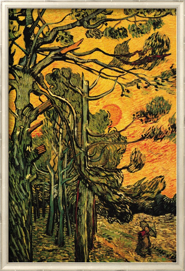 Pine Trees Against a Red Sky with Setting Sun - Vincent Van Gogh Paintings
