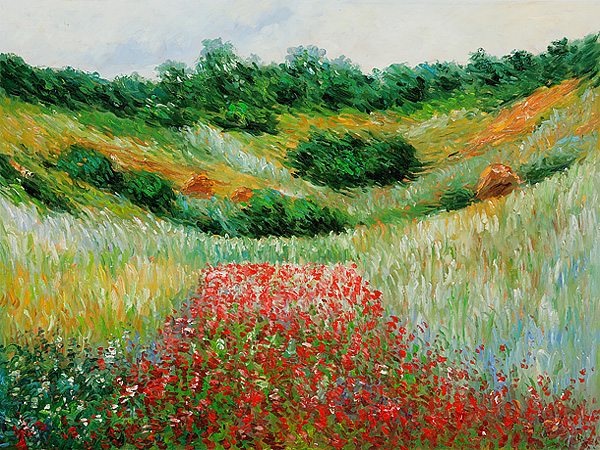 Poppy Field In A Valley Near Giverny-Claude Monet Painting