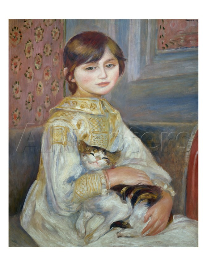 Portrait of Julie Manet or Little Girl with Cat - Pierre Auguste Renoir Painting
