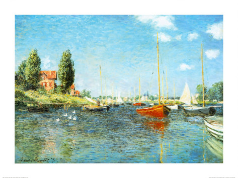 Red Boats At Argenteuil, C.1875-Claude Monet Painting