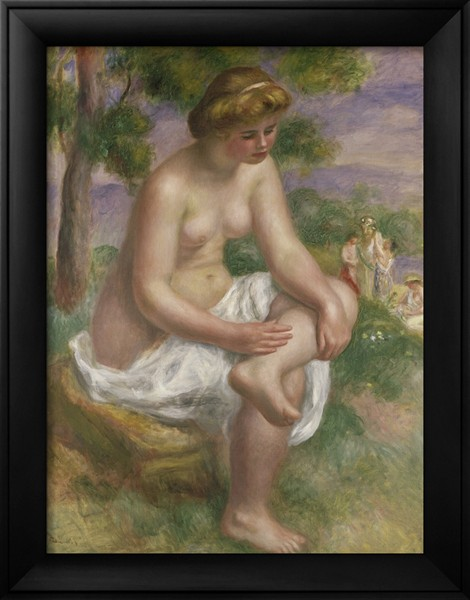 Seated Bather in a Landscape - Pierre Auguste Renoir Painting