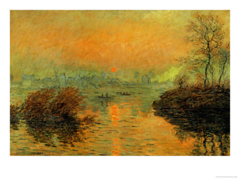 Setting Sun On The Seine At Lavacourt, Effect Of Winter, 1880-Claude Monet Painting