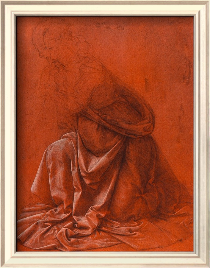 Study For The Folds Of A Garment Of A Female Figure Silverpoint Drawing - Leonardo Da Vinci Painting