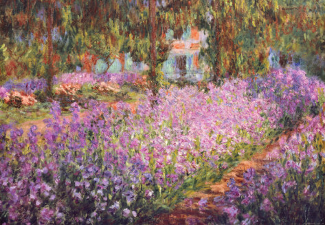 The Artists Garden At Giverny, C.1900-Claude Monet Painting