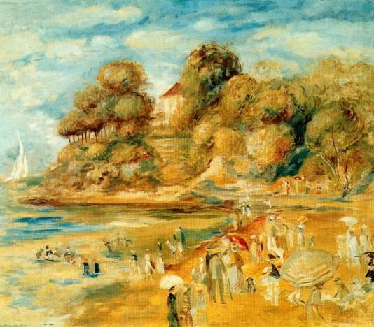 The Beach at Pornic - 1879 - Pierre Auguste Renoir Painting