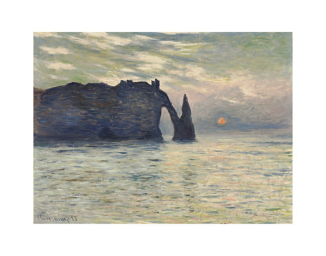 The Cliff, Etretat, Sunset-Claude Monet Painting