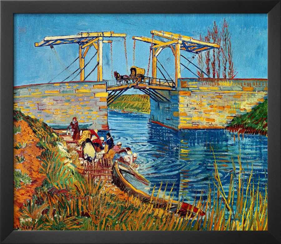 The Drawbridge at Arles with a Group of Washerwomen - Vincent Van Gogh Paintings