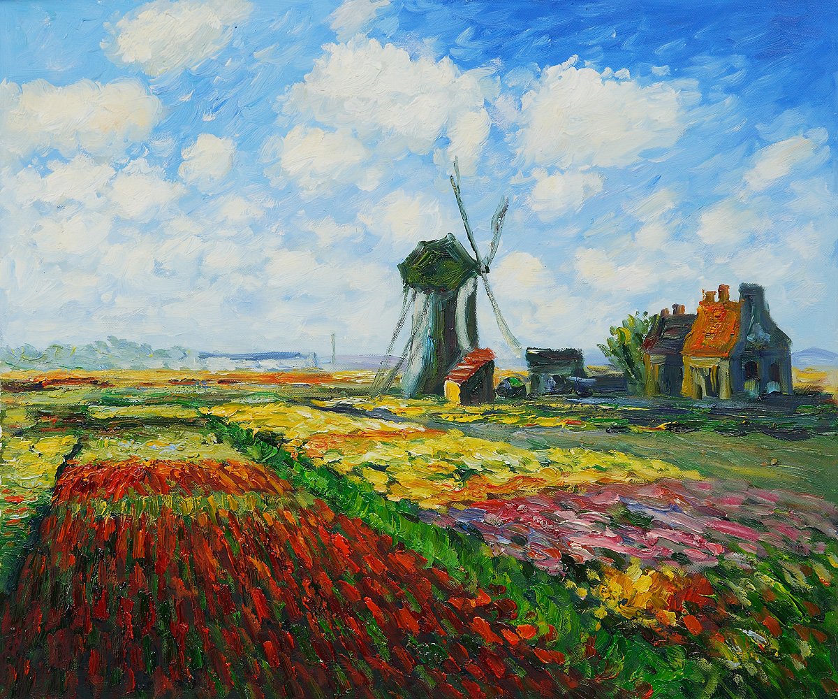 Tulip Field With The Rijnsburg Windmill-Claude Monet Painting