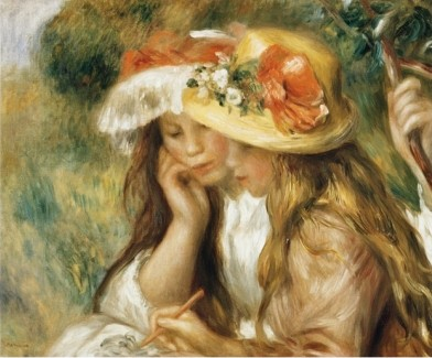 Two Girls Drawing - Pierre Auguste Renoir Painting