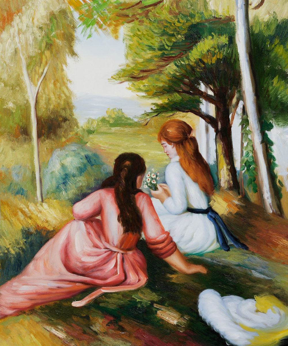 Two Girls In The Meadow Picking Flowers - Pierre Auguste Renoir Painting