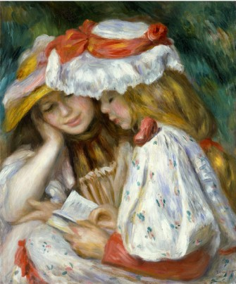 Two Girls Reading - Pierre Auguste Renoir Painting