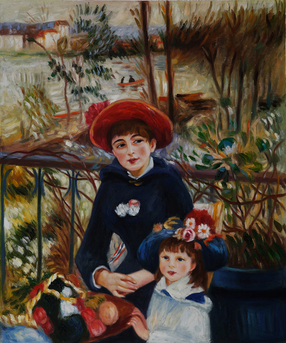 Two Sisters On the Terrace, 1881 - Pierre Auguste Renoir Painting