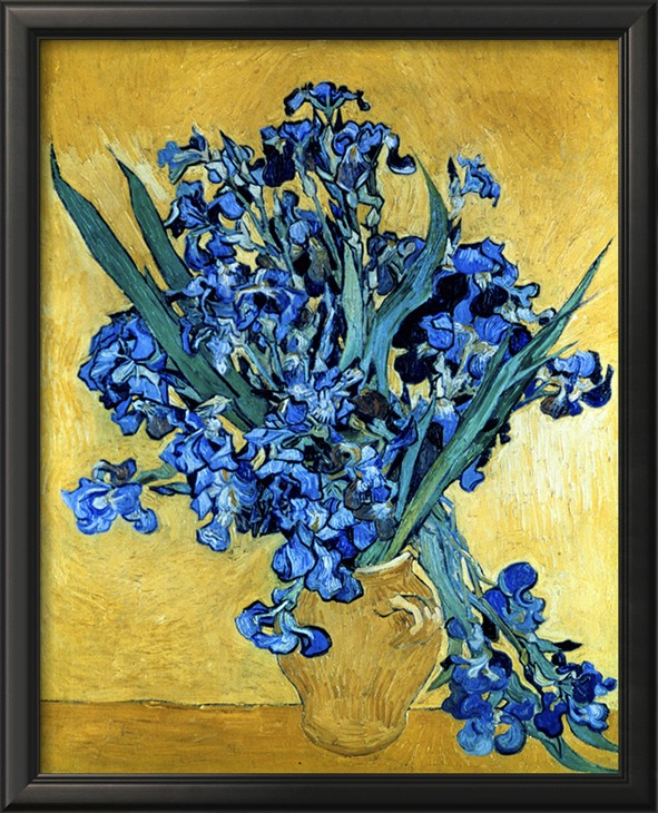 Vase of Irises Against a Yellow Background - Vincent Van Gogh Paintings