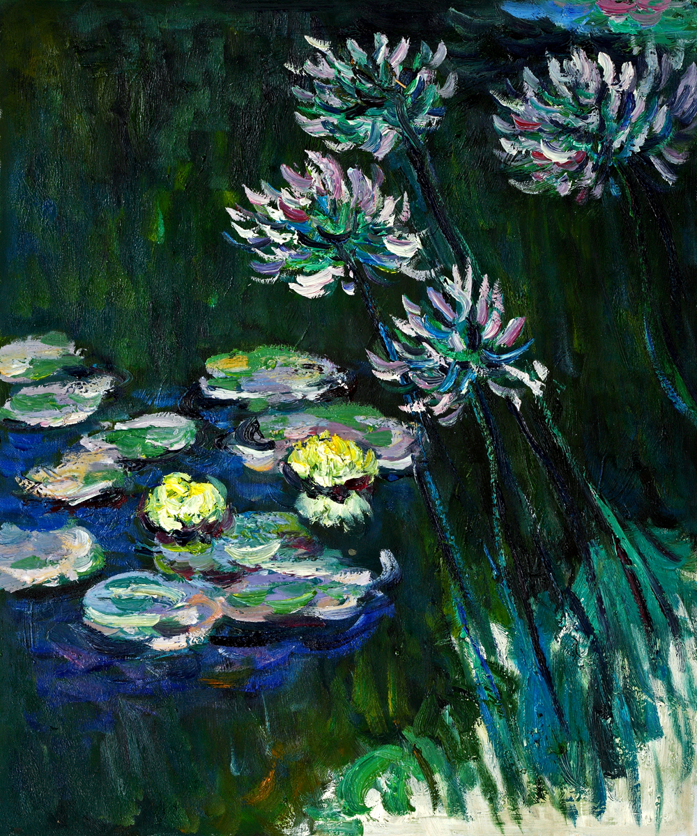 Water Lilies And Agapanthus-Claude Monet Painting