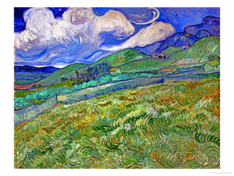 Wheatfield and Mountains - Vincent Van Gogh Paintings