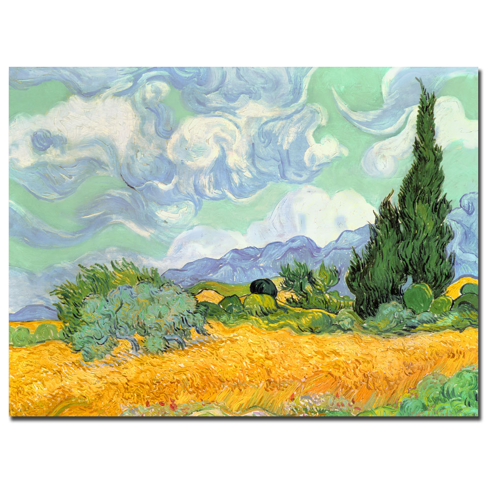 Wheatfield with Cypresses 1889-Vincent Van Gogh oil on canvas