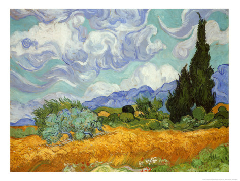 Wheatfield with Cypresses - Vincent Van Gogh Paintings
